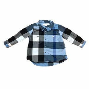 Burberry baby blue check long sleeve button down